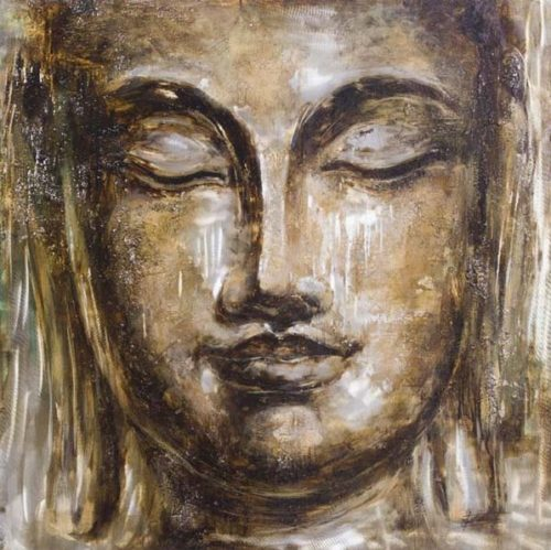 Pintura: Cara de Buda 100x100cm.