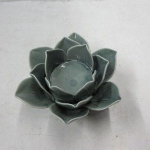 Portavelas de Ceramica Flor de Loto Gris